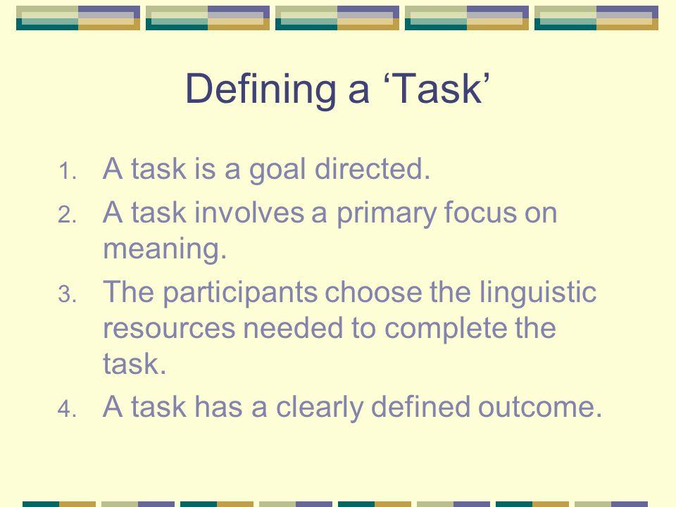 Types of Task 1. Unfocussed tasks a. Pedagogic b. Real world 2. Focussed tasks