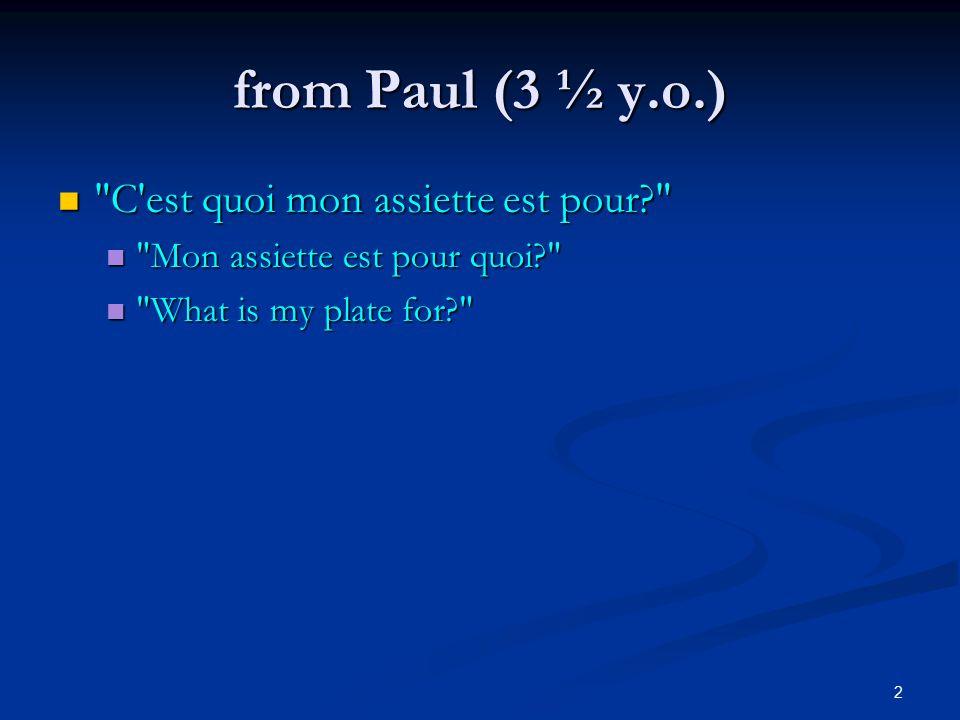 2 from Paul (3 ½ y.o.) C est quoi mon assiette est pour C est quoi mon assiette est pour Mon assiette est pour quoi Mon assiette est pour quoi What is my plate for What is my plate for