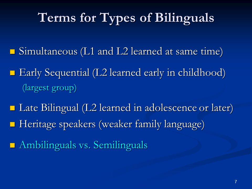 8 Simultaneous Bilinguals : 2 monolinguals in 1.