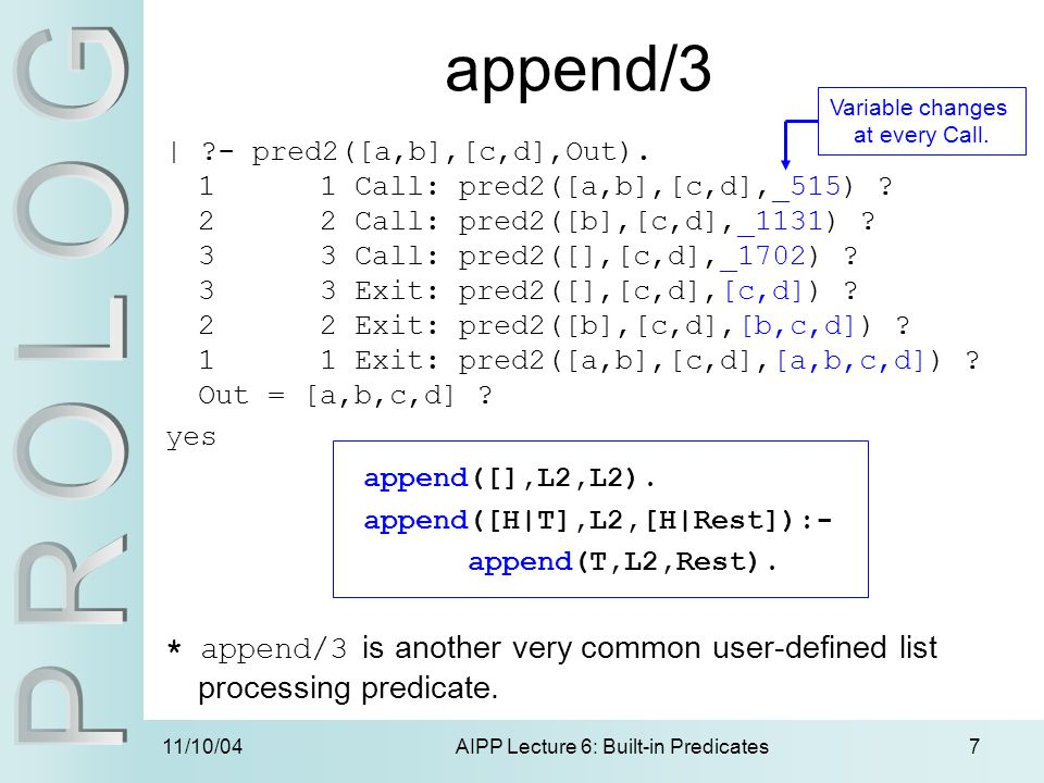 11/10/04AIPP Lecture 6: Built-in Predicates7 append/3 | ?- pred2([a,b],[c,d],Out).