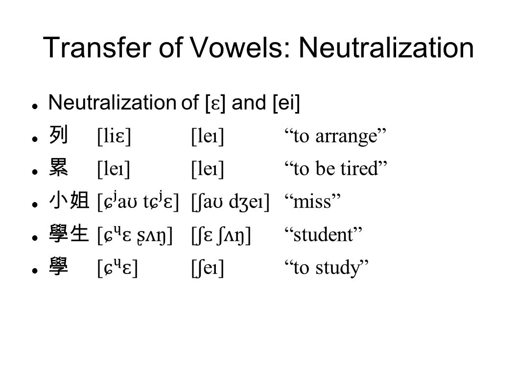Transfer of Vowels: Neutralization Neutralization of [ ɛ ] and [ei] 列 [li ɛ ][leı] to arrange 累 [leı][leı] to be tired 小姐 [ ɕʲ a ʊ t ɕʲɛ ][ ʃ a ʊ d ʒ eı] miss 學生 [ ɕɛ ʂʌ ŋ][ ʃɛ ʃʌ ŋ] student 學 [ ɕɛ ][ ʃ eı] to study