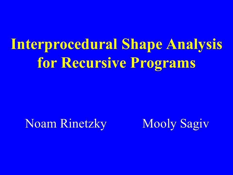 Interprocedural Shape Analysis for Recursive Programs Noam Rinetzky Mooly Sagiv