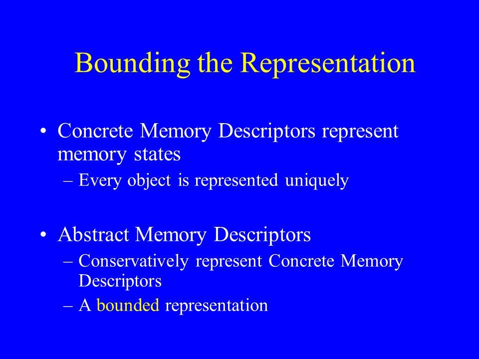 Bounding the Representation Concrete Memory Descriptors represent memory states –Every object is represented uniquely Abstract Memory Descriptors –Con
