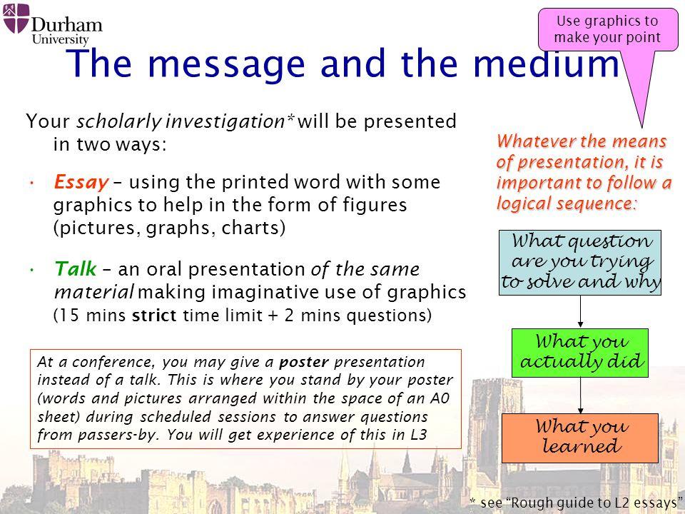The message and the medium Your scholarly investigation* will be presented in two ways: Essay – using the printed word with some graphics to help in the form of figures (pictures, graphs, charts) Talk – an oral presentation of the same material making imaginative use of graphics (15 mins strict time limit + 2 mins questions) What question are you trying to solve and why What you actually did What you learned Whatever the means of presentation, it is important to follow a logical sequence: * see Rough guide to L2 essays At a conference, you may give a poster presentation instead of a talk.