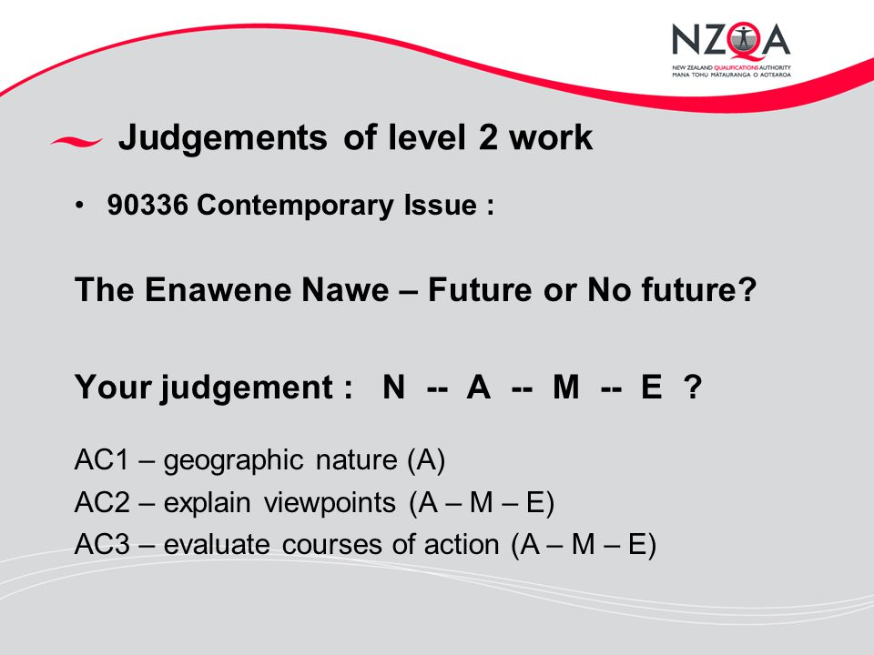 Judgements of level 2 work 90336 Contemporary Issue : The Enawene Nawe – Future or No future.
