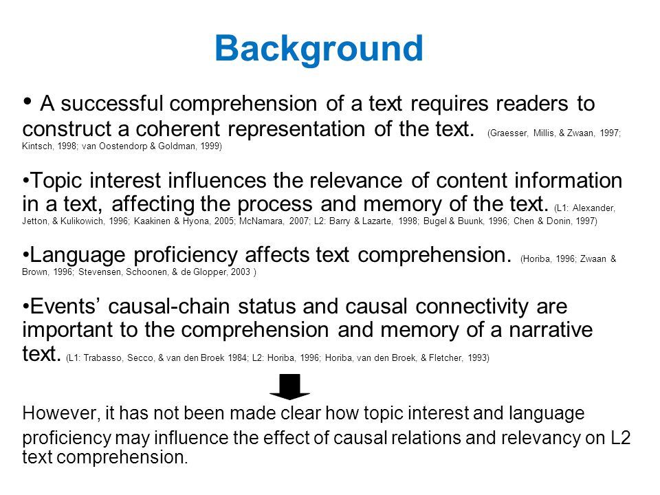 Background A successful comprehension of a text requires readers to construct a coherent representation of the text.