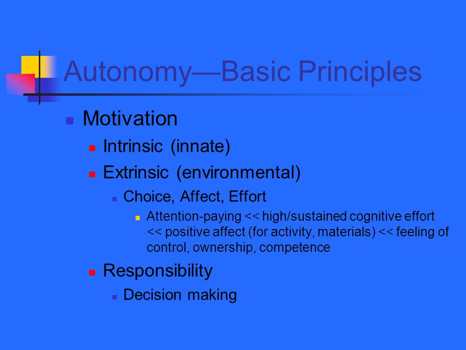 Autonomy—Basic Principles Motivation Intrinsic (innate) Extrinsic (environmental) Choice, Affect, Effort Attention-paying << high/sustained cognitive effort << positive affect (for activity, materials) << feeling of control, ownership, competence Responsibility Decision making