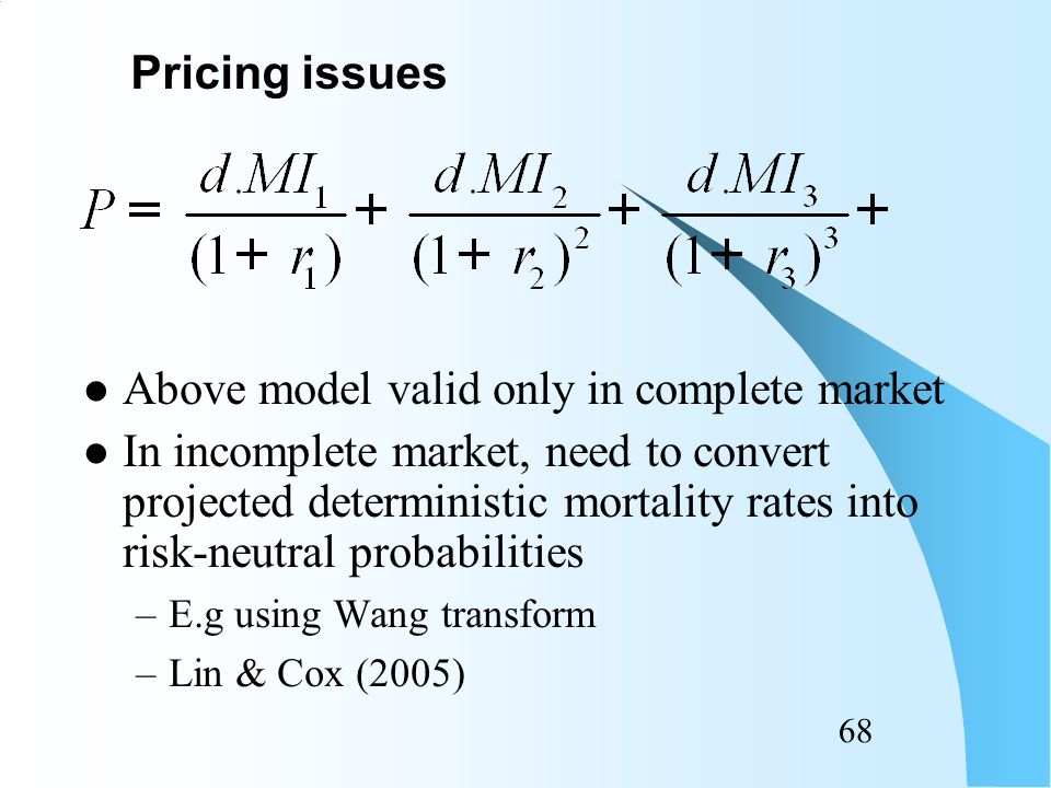 67 Need to forecast mortality index MI's Need to estimate r's Correlation between MI and r: –Anticipated to be low Pricing issues
