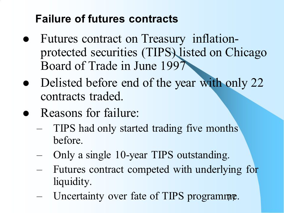 76 CPI futures contract listed on US Coffee, Sugar and Cocoa Exchange in June 1985 Delisted in April 1987 with only 10,000 contracts traded.