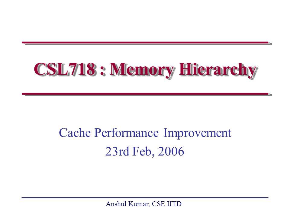 Anshul Kumar, CSE IITD slide 12 Reducing Miss Rate Large block size Larger cache Higher associativity Way prediction and pseudo-associative cache Warm start in multi-tasking Compiler optimizations