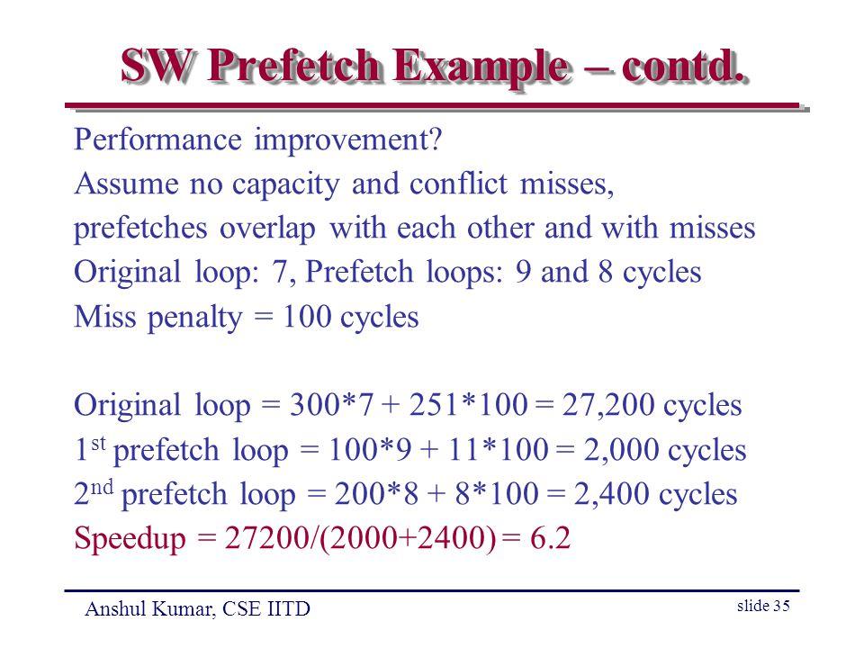 Anshul Kumar, CSE IITD slide 35 SW Prefetch Example – contd.