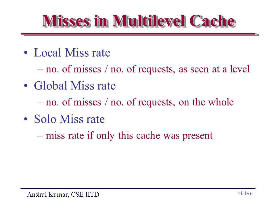 Anshul Kumar, CSE IITD slide 7 Two level cache miss example A: L1, L2 B: ~L1, L2 C: L1, ~L2 D: ~L1, ~L2 Local miss (L1) = (B+D)/(A+B+C+D) Local miss (L2) = D/(B+D) Global Miss = D/(A+B+C+D) Solo miss (L2) = (C+D)/(A+B+C+D)