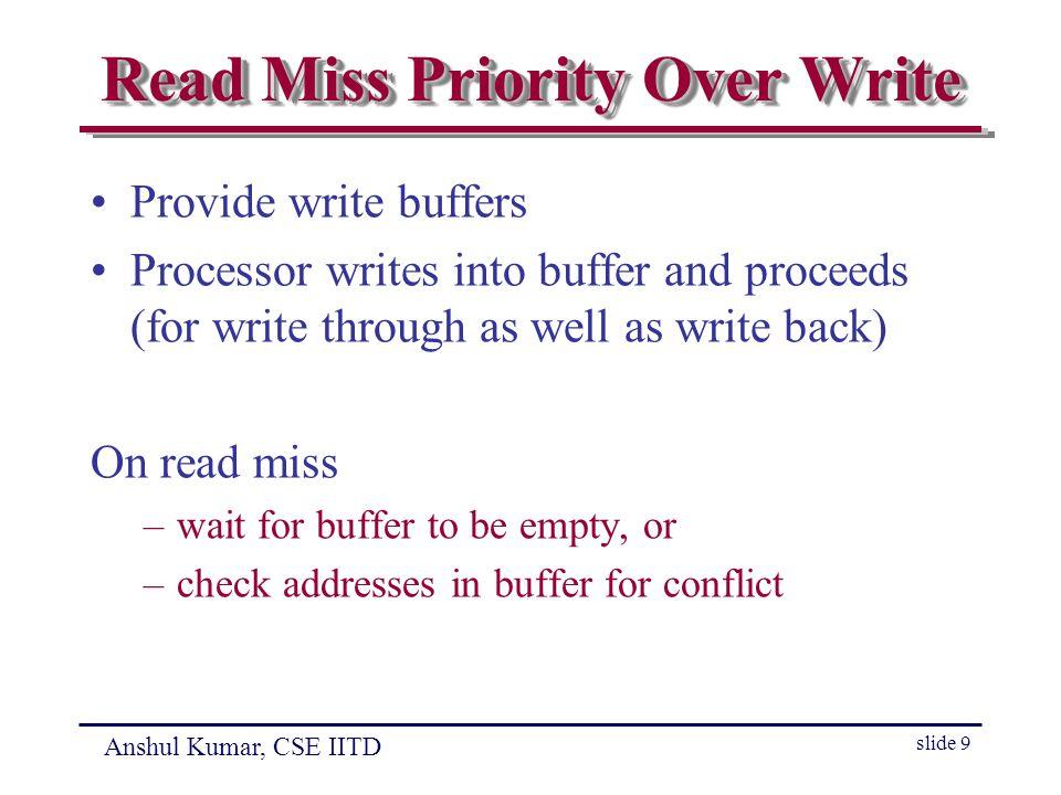 Anshul Kumar, CSE IITD slide 10 Merging Write Buffer Merge writes belonging to same block in case of write through