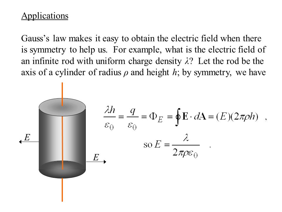 Applications Gauss's law makes it easy to obtain the electric field when there is symmetry to help us.