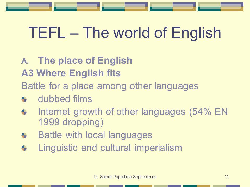 Dr. Salomi Papadima-Sophocleous11 TEFL – The world of English A.