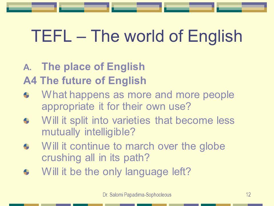 Dr. Salomi Papadima-Sophocleous12 TEFL – The world of English A.