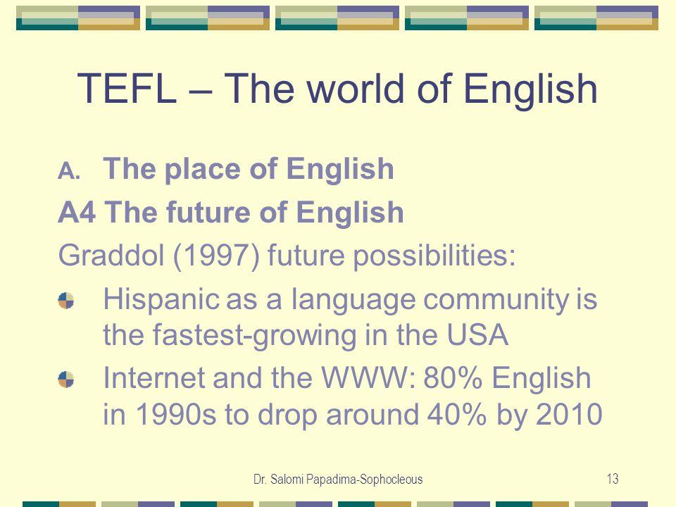 Dr. Salomi Papadima-Sophocleous13 TEFL – The world of English A.