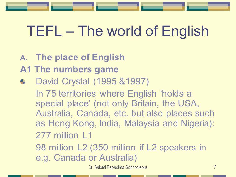 Dr. Salomi Papadima-Sophocleous7 TEFL – The world of English A.