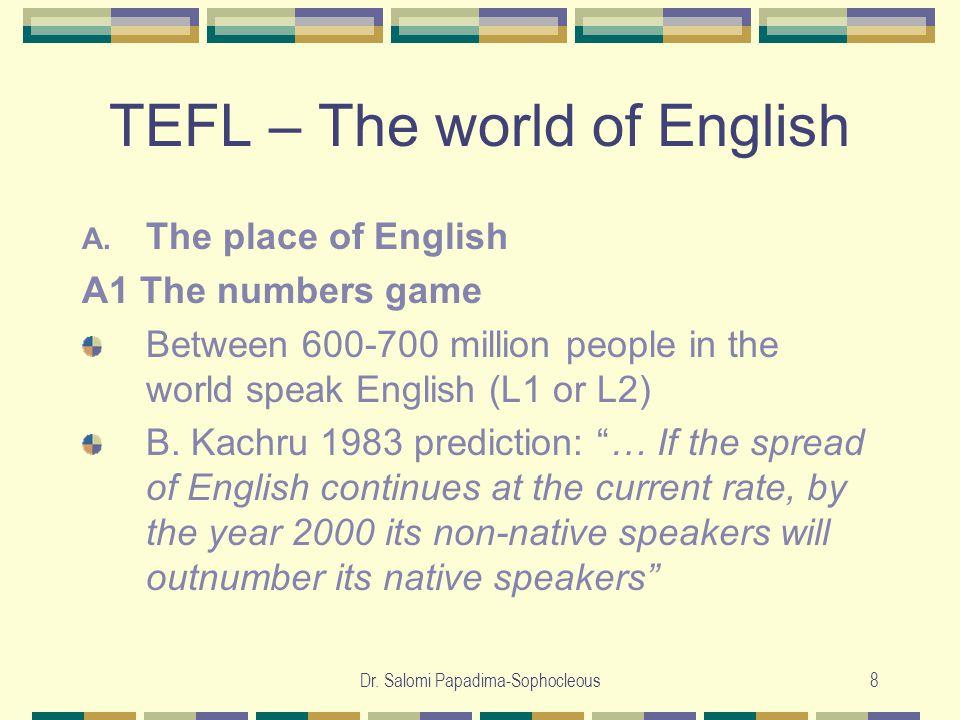 Dr. Salomi Papadima-Sophocleous8 TEFL – The world of English A.