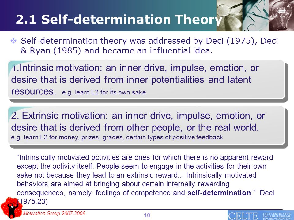 Motivation Group 2007-2008 2.1 Self-determination Theory 1.Intrinsic motivation: an inner drive, impulse, emotion, or desire that is derived from inne