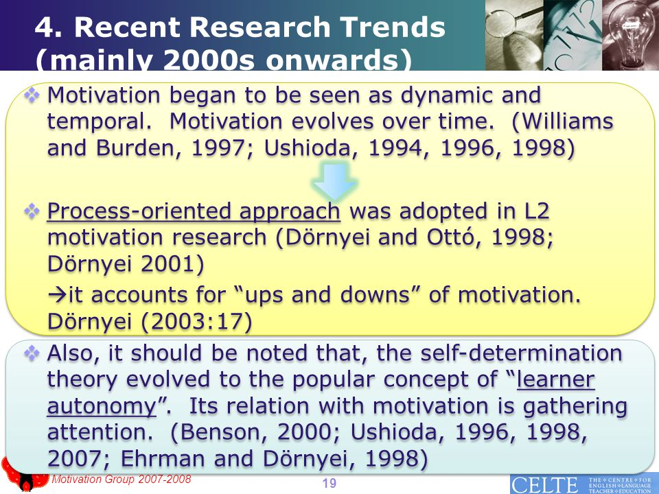 Motivation Group 2007-2008 4. Recent Research Trends (mainly 2000s onwards)  Motivation began to be seen as dynamic and temporal. Motivation evolves