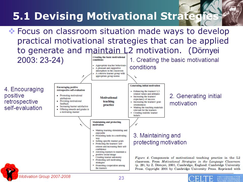 Motivation Group 2007-2008 5.1 Devising Motivational Strategies 23  Focus on classroom situation made ways to develop practical motivational strategies that can be applied to generate and maintain L2 motivation.