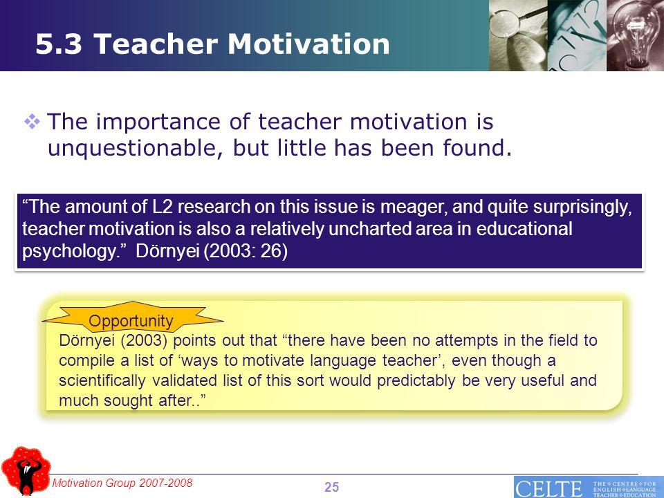 Motivation Group 2007-2008 5.3 Teacher Motivation  The importance of teacher motivation is unquestionable, but little has been found.