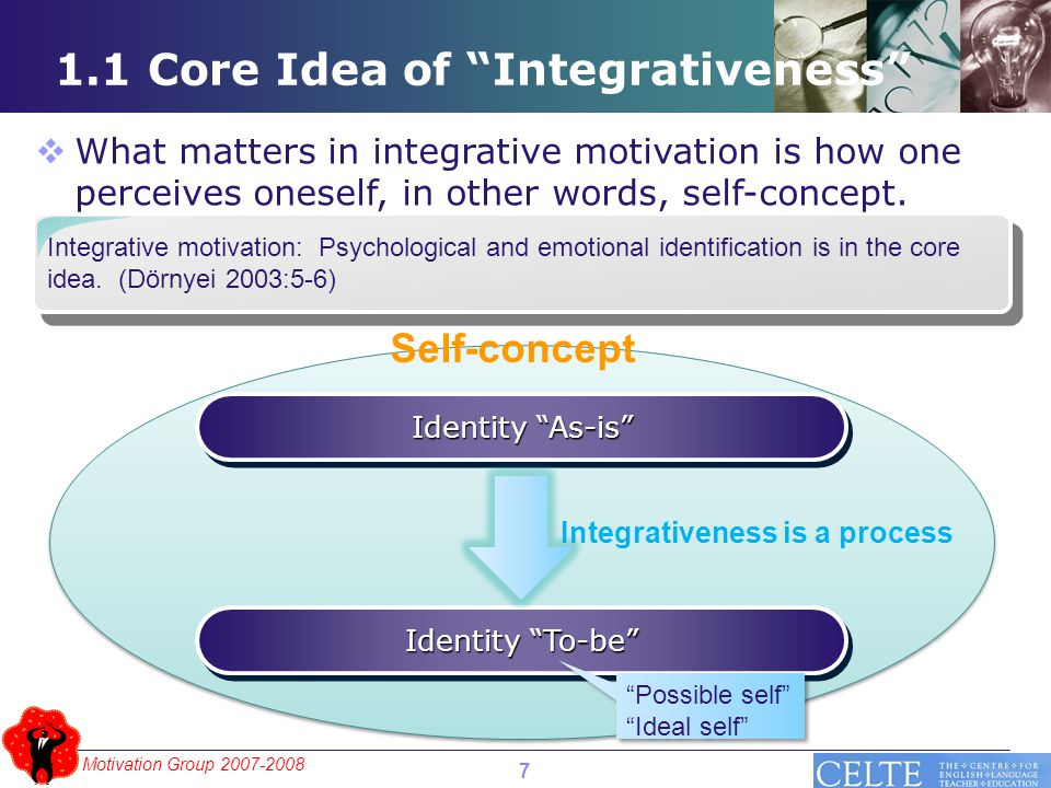 """Motivation Group 2007-2008 1.1 Core Idea of """"Integrativeness"""" Integrative motivation: Psychological and emotional identification is in the core idea."""