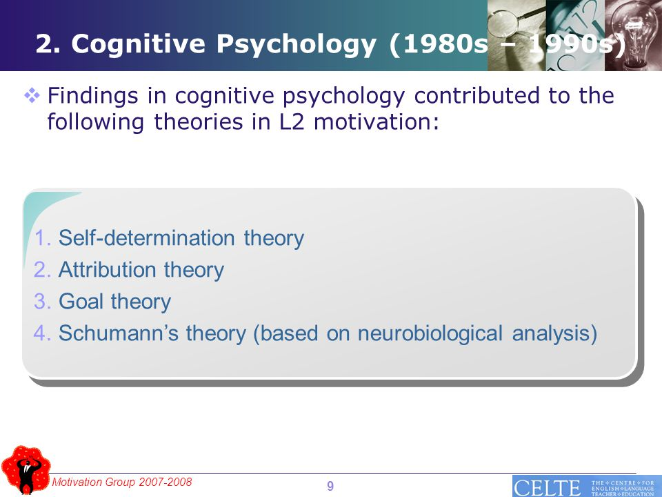 Motivation Group 2007-2008 2. Cognitive Psychology (1980s – 1990s)  Findings in cognitive psychology contributed to the following theories in L2 moti