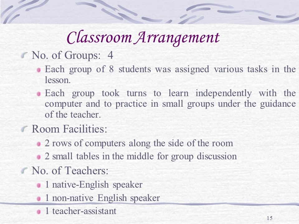 15 Classroom Arrangement No. of Groups: 4 Each group of 8 students was assigned various tasks in the lesson. Each group took turns to learn independen
