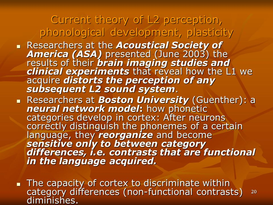 20 Current theory of L2 perception, phonological development, plasticity Researchers at the Acoustical Society of America (ASA) presented (June 2003) the results of their brain imaging studies and clinical experiments that reveal how the L1 we acquire distorts the perception of any subsequent L2 sound system.