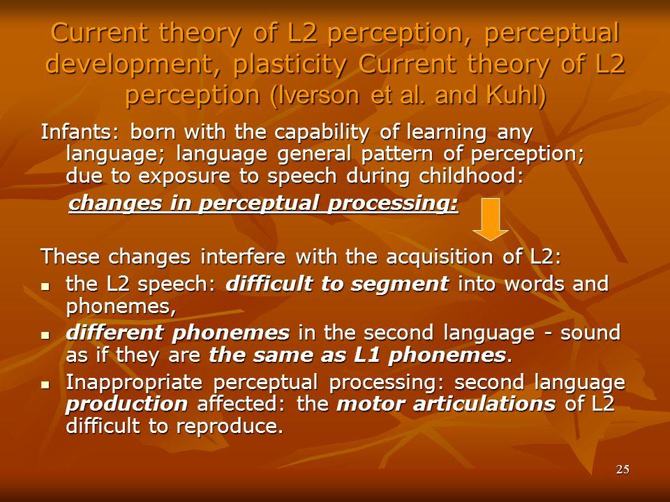 25 Current theory of L2 perception, perceptual development, plasticity Current theory of L2 perception (Iverson et al.