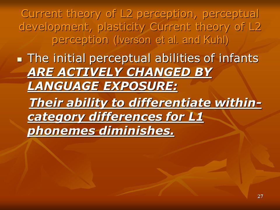 27 Current theory of L2 perception, perceptual development, plasticity Current theory of L2 perception (Iverson et al.