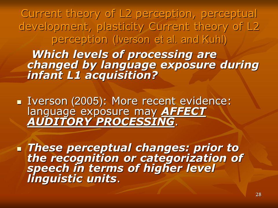 28 Current theory of L2 perception, perceptual development, plasticity Current theory of L2 perception (Iverson et al.