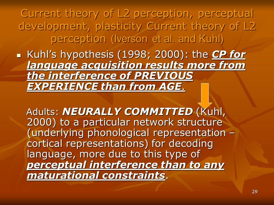 29 Current theory of L2 perception, perceptual development, plasticity Current theory of L2 perception (Iverson et al.