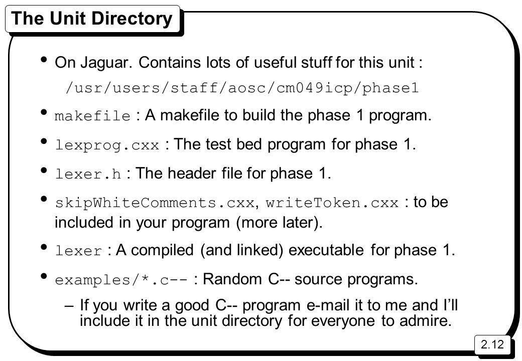 2.12 The Unit Directory On Jaguar.