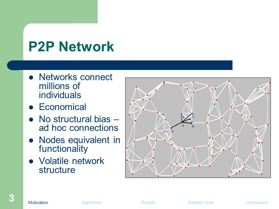 4 P2P Setup Millions of peers (Skype ~50 millions) Dynamic topology and data Communication – reliable, bandwidth-limited, asynchronous, asymmetric Impracticalities / impossibilities – global communication – global synchronization Motivation Algorithms Results Related Work Conclusions