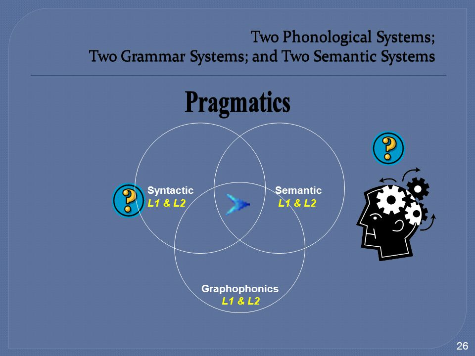 Two Phonological Systems; Two Grammar Systems; and Two Semantic Systems 26 Syntactic Semantic L1 & L2 Graphophonics L1 & L2