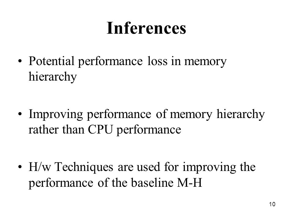 10 Inferences Potential performance loss in memory hierarchy Improving performance of memory hierarchy rather than CPU performance H/w Techniques are used for improving the performance of the baseline M-H