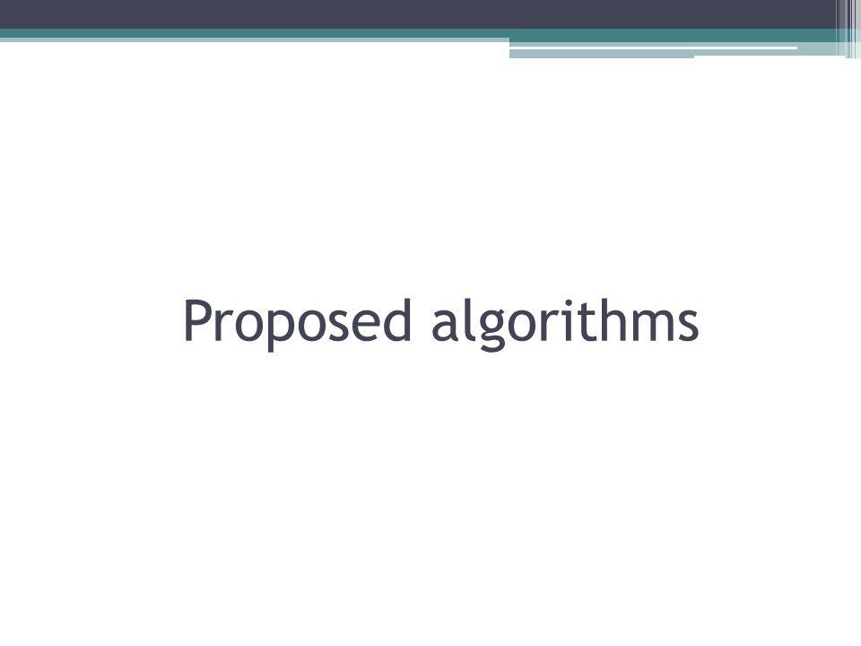 Proposed algorithms
