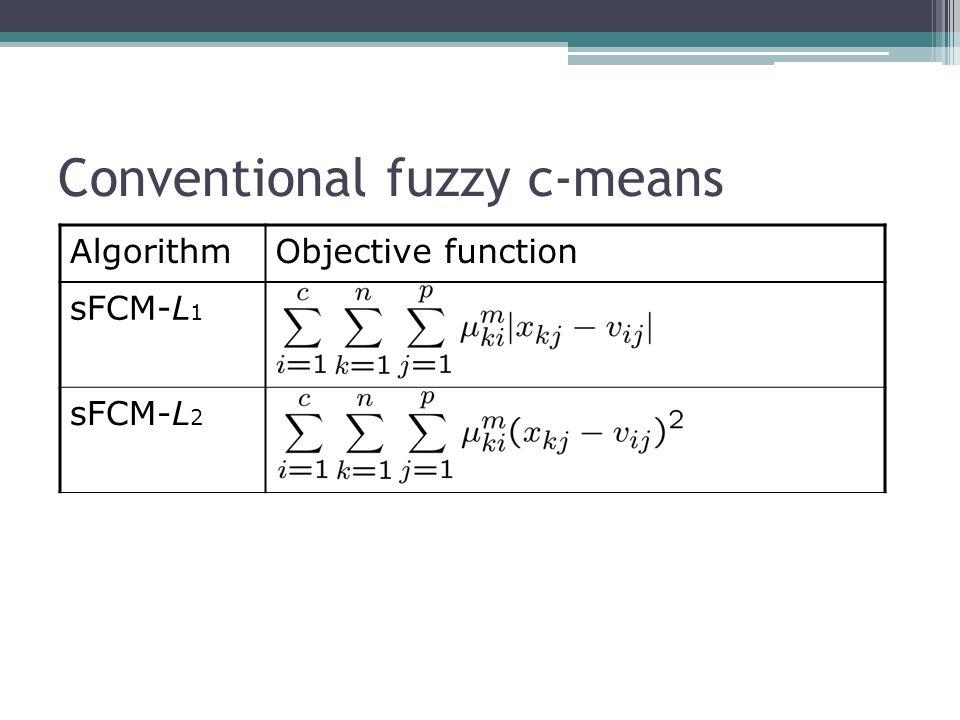 Conventional fuzzy c-means AlgorithmObjective function sFCM-L 1 sFCM-L 2