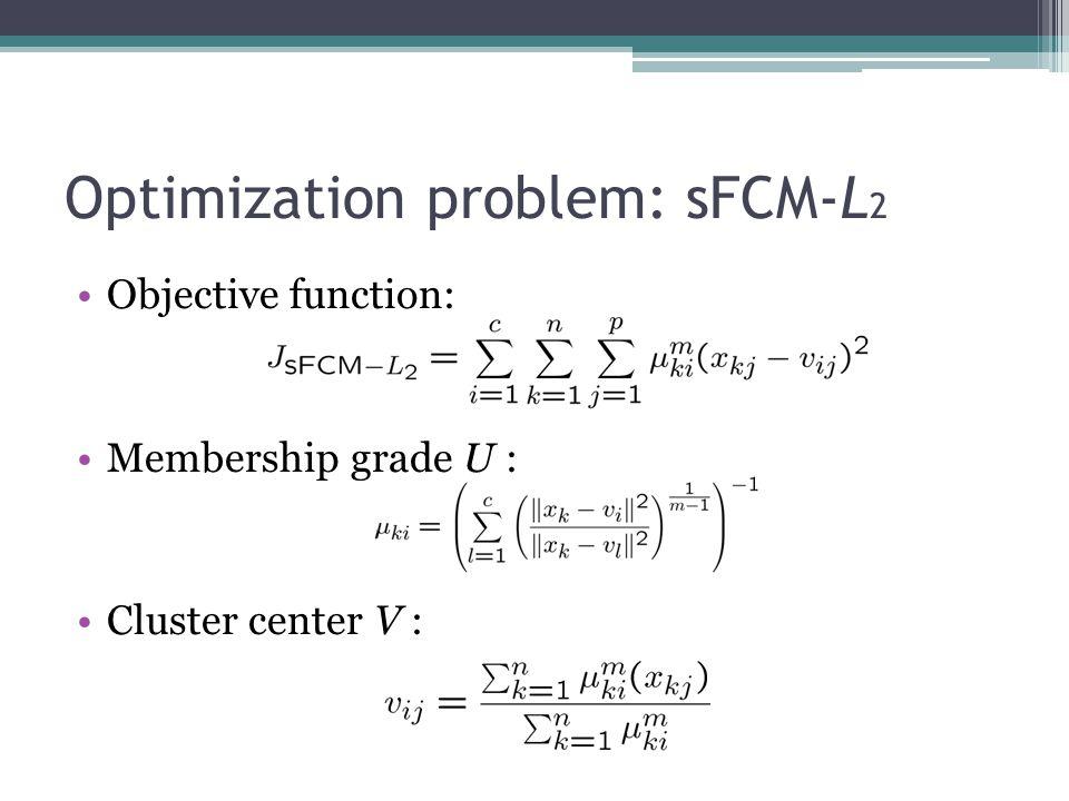 Optimization problem: sFCM-L 2 Objective function: Membership grade U : Cluster center V :