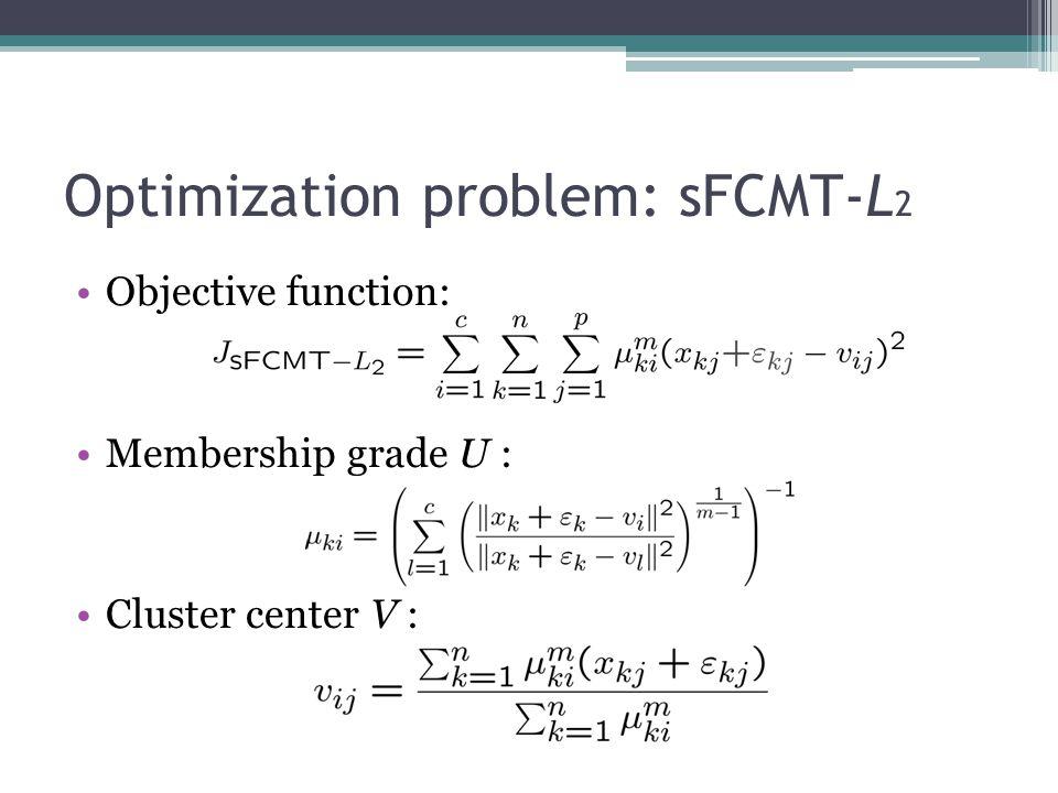 Optimization problem: sFCMT-L 2 Objective function: Membership grade U : Cluster center V :