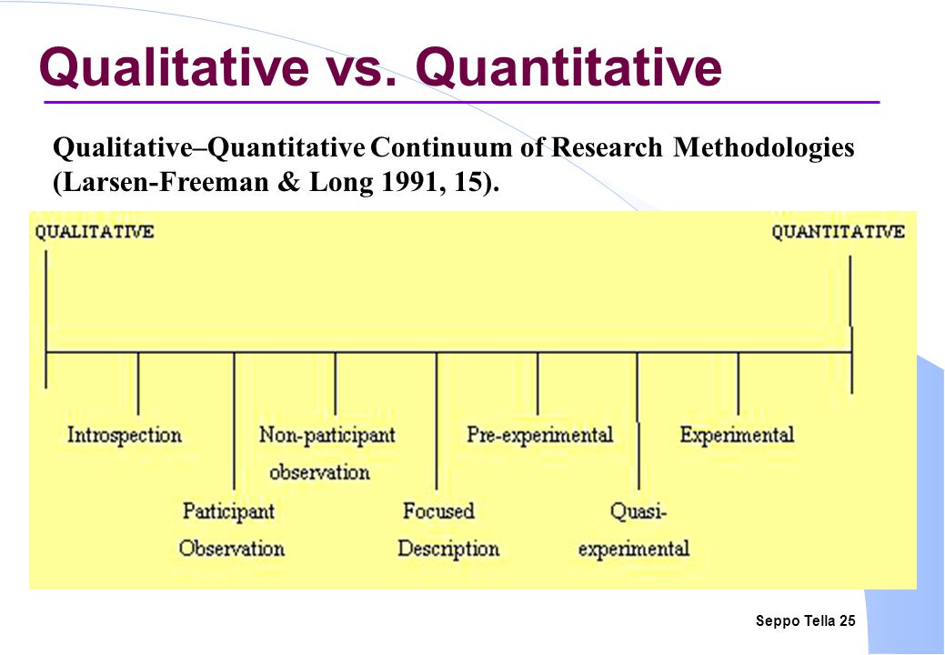 Seppo Tella 25 Qualitative vs.