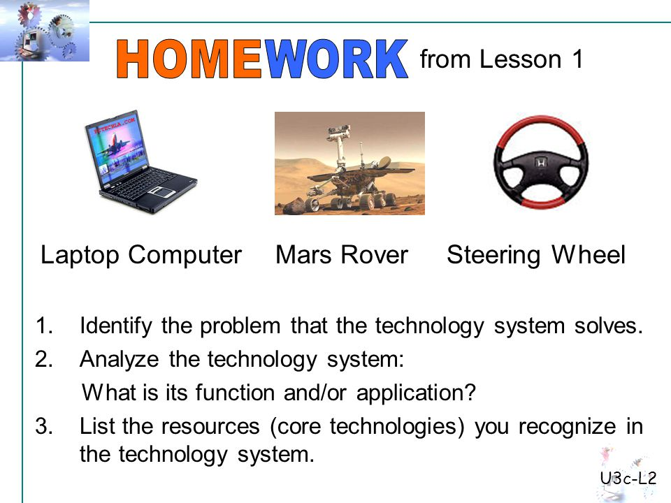 1.Identify the problem that the technology system solves.