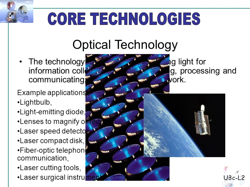 The technology of producing light; using light for information collecting, storing, retrieving, processing and communicating; and using light to do work.