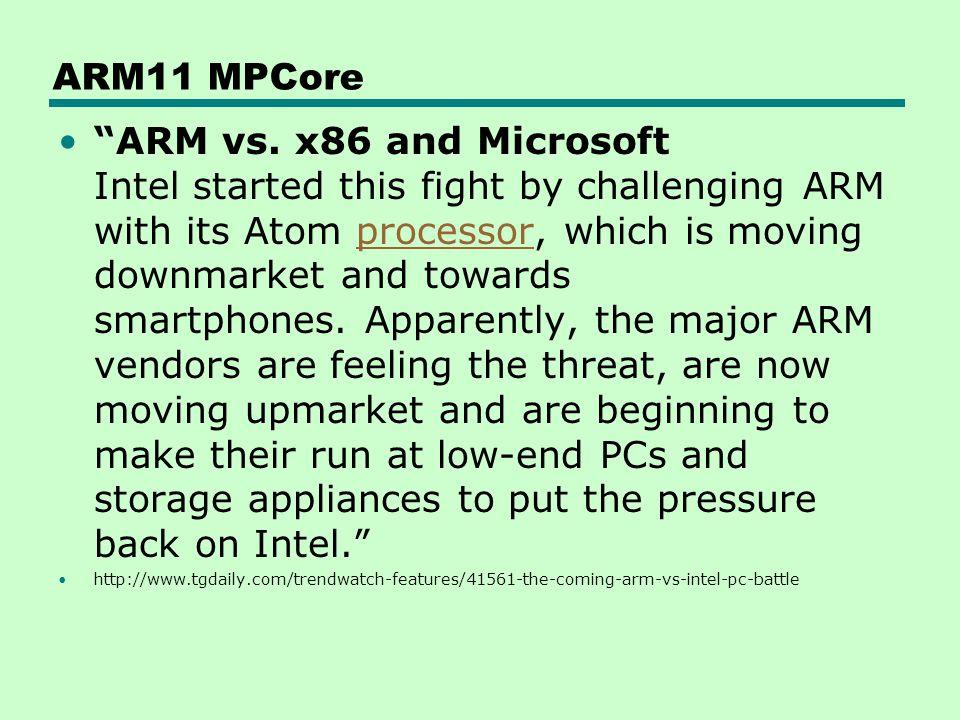ARM11 MPCore ARM vs.