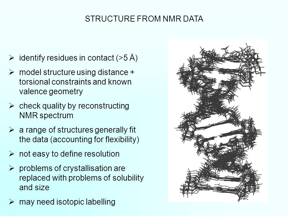  identify residues in contact (>5 Å)  model structure using distance + torsional constraints and known valence geometry  check quality by reconstructing NMR spectrum  a range of structures generally fit the data (accounting for flexibility)  not easy to define resolution  problems of crystallisation are replaced with problems of solubility and size  may need isotopic labelling STRUCTURE FROM NMR DATA