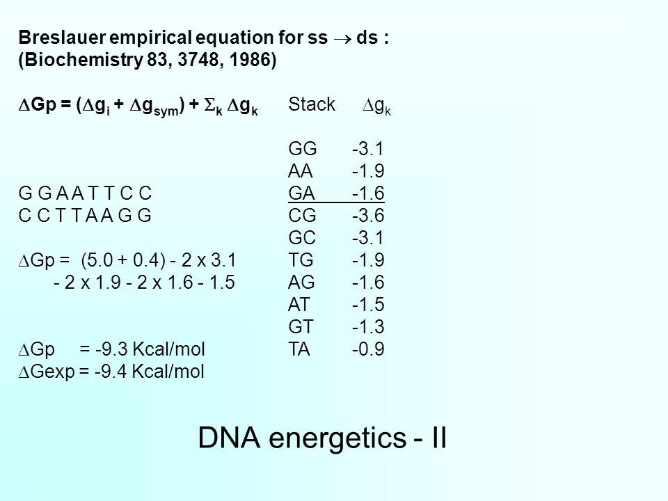 DNA energetics - II Breslauer empirical equation for ss  ds : (Biochemistry 83, 3748, 1986)  Gp = (  g i +  g sym ) +  k  g k Stack  g k GG-3.1 AA-1.9 G G A A T T C CGA-1.6 C C T T A A G GCG-3.6 GC-3.1  Gp = (5.0 + 0.4) - 2 x 3.1 TG-1.9 - 2 x 1.9 - 2 x 1.6 - 1.5AG-1.6 AT-1.5 GT-1.3  Gp = -9.3 Kcal/molTA-0.9  Gexp = -9.4 Kcal/mol