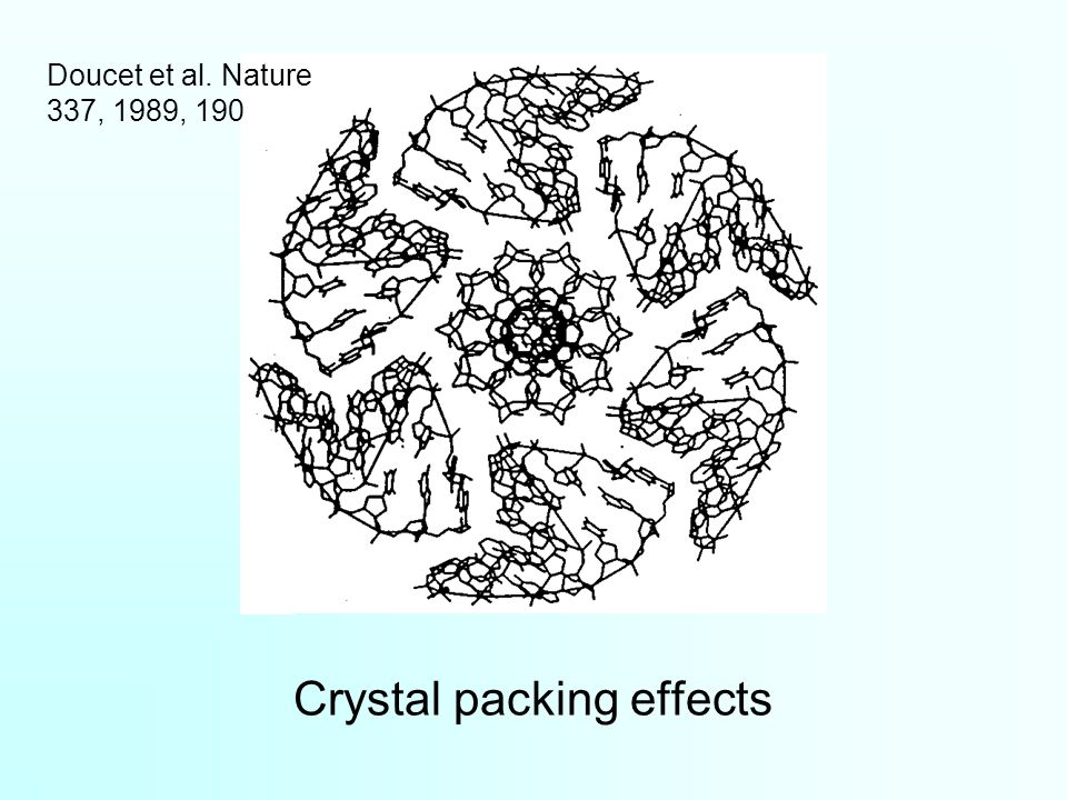 Crystal packing effects Doucet et al. Nature 337, 1989, 190